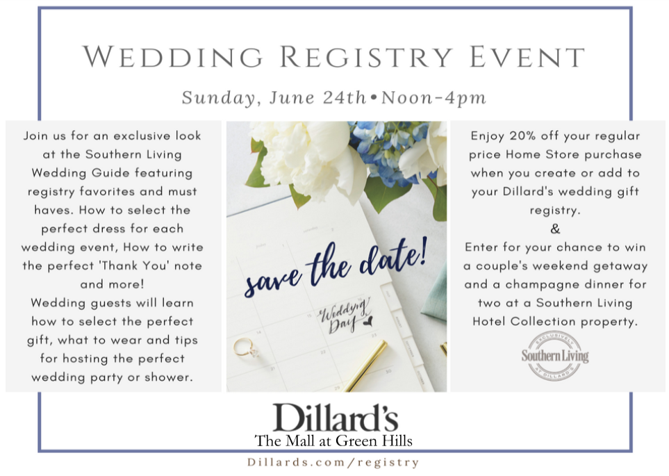 Dillard's Southern Living Wedding Registry Event