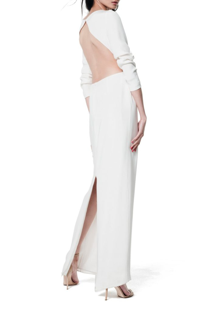 6_Houghton Cheyne Open Back Long Sleeve Silk Column Gown_$2450